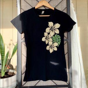 Island Crew Hawaii T-Shirt Flower Black Small